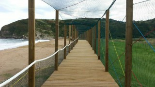 Zarautz street with netting and ropes